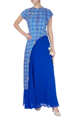 Blue anarkali with printed layer