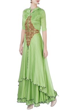 Mint green anarkali in floral embellishments