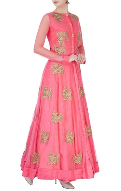 Pink anarkali in bead embellishments
