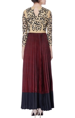 beige & burgundy pleated anarkali