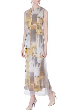 multicolored abstract printed midi dress