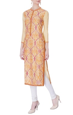 beige & orange hand embroidered kurta