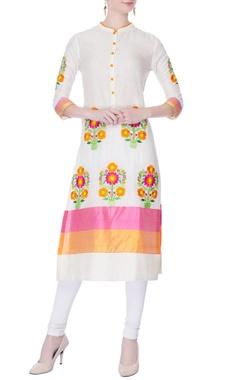 pink & orange embroidered kurta