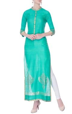 green kurta with bead embellished sleeves