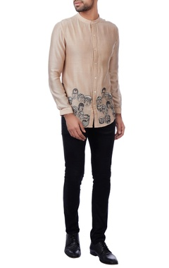 beige faces motif chanderi shirt