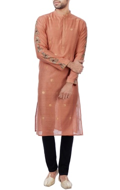 burnt orange chanderi kurta