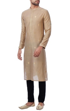 beige embroidered bead work kurta
