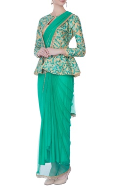 aqua draped sari with jacket & bustier