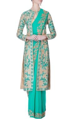 aqua floral jaal sari with jacket & blouse