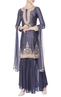 charcoal grey sequin embellished kurta set