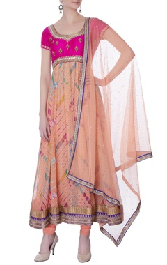 pink & peach flared anarkali set