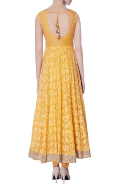 mango yellow lucknowi embroidered kurta set