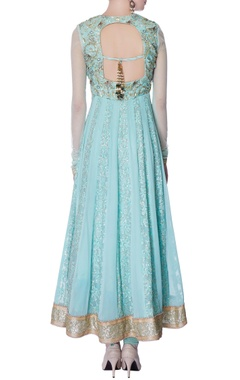mint blue sequin embellished anarkali set