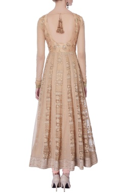 peach & beige lucknowi anarkali set