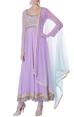 purple sequin & pearl embellished anarkali set