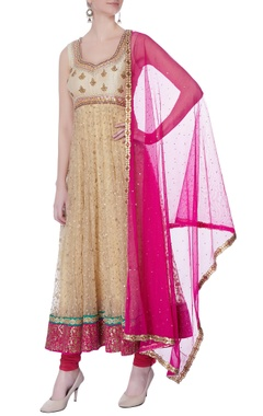 gold & pink sequin anarkali set