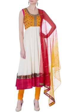 white & yellow embellished anarkali set