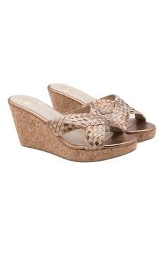 beige & bronze slip on wedges