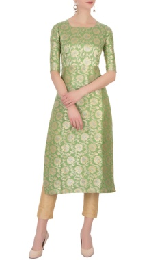 green floral brocade woven kurta