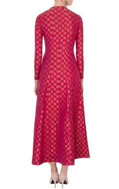hot pink brocade silk kurta