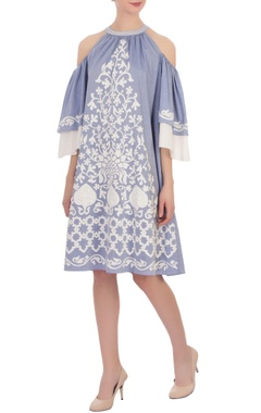 muave applique chambray dress