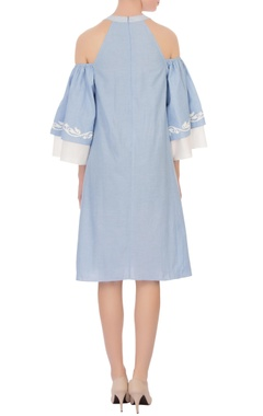 light muave applique chambray dress