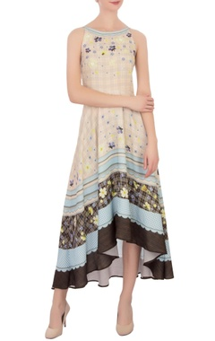 multi-colored printed asymmetrical moss crepe dress