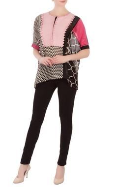 pink printed chanderi blouse