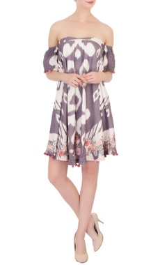 muave tie and dye ikat cotton jumper dress