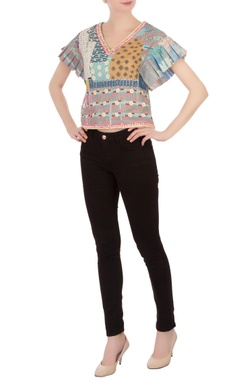 multi-colored embellished poly mesh blouse
