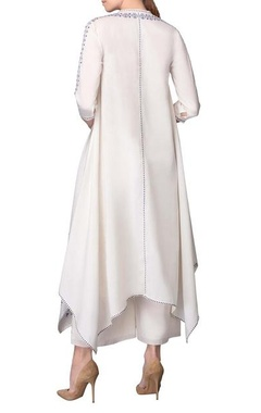 White asymmetric hem kurta with palazzos
