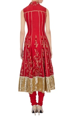 Red chanderi anarkali with dupatta