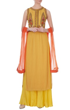 Yellow georgette zardozi kurta set