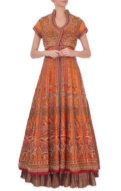 Orange resham raw silk jacket set