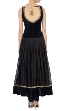 Black velvet anarkali set