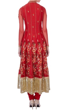 Red flared chanderi anarkali set
