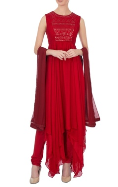 Red chiffon asymmetric kurta set