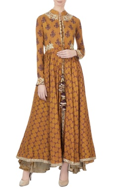 mustard printed voil cape