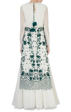 white & green embroidered jacket with anarkali