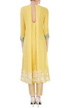yellow cotton high-low kurta