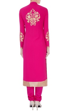 fuschia chanderi silk applique long kurta set