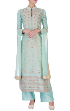 Mint green chanderi silk gota patti long kurta set