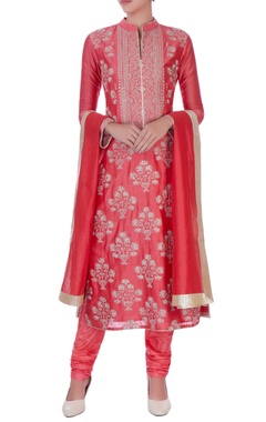 coral chanderi silk zari long kurta set