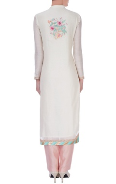 ivory chanderi silk embroidered long kurta set