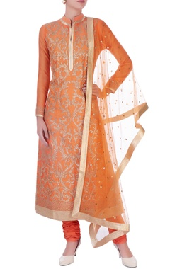orange chanderi silk dori long kurta set