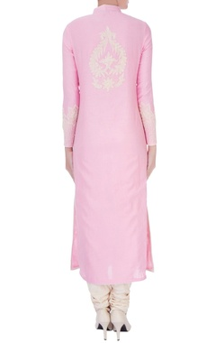 pink chanderi silk dori jaal long kurta set