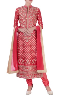 coral chanderi silk gota patti long kurta set