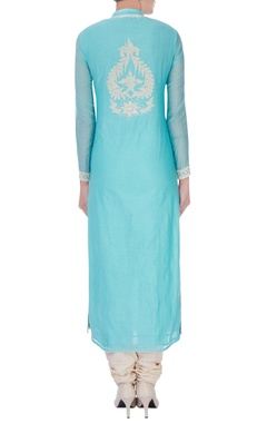 blue chanderi silk dori jaal long kurta set