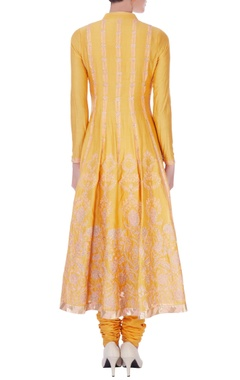 yellow chanderi silk applique long kurta set