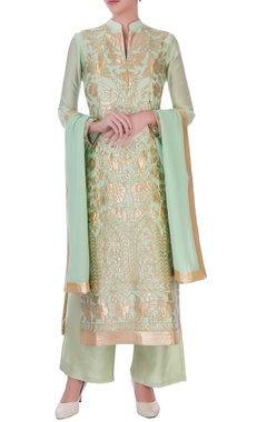 Lime green chanderi silk applique long kurta set